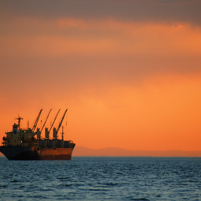 """""""Freighter On Ocean"""" stock image"""