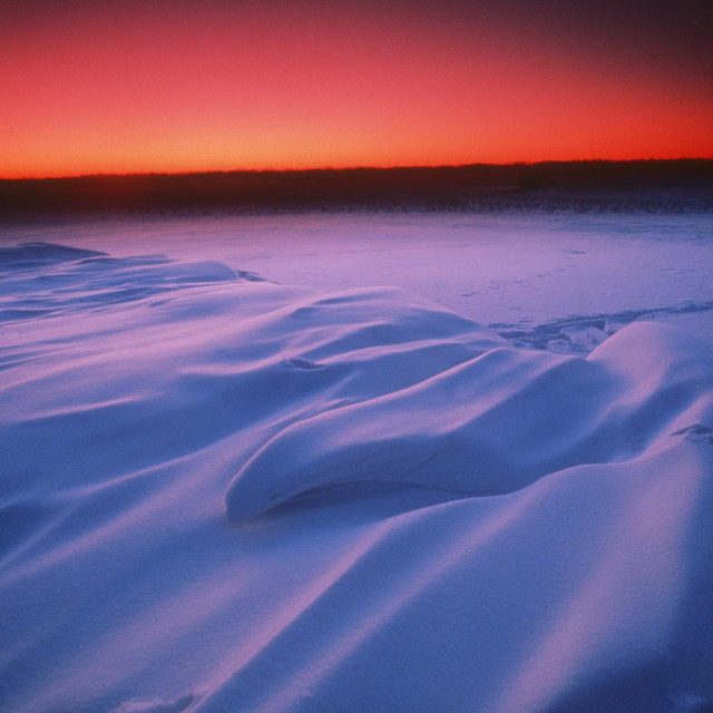 """""""Colourful Snowscape And Sunset, Alberta, Canada"""" stock image"""