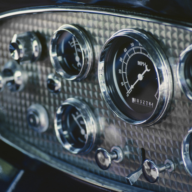 """Dashboard Of An Antique Car"" stock image"
