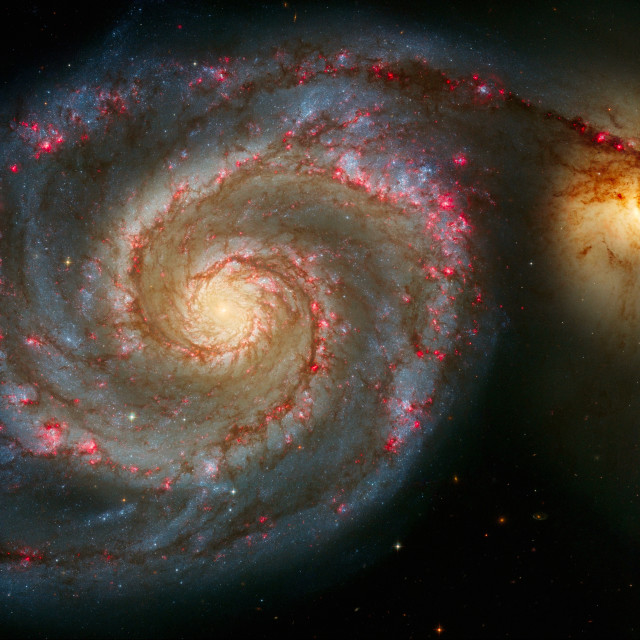 """The Whirlpool Galaxy (M51) And Companion Galaxy"" stock image"