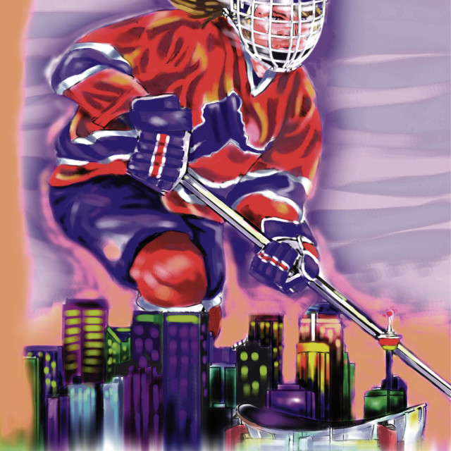 """Hockey Player Representing A City"" stock image"