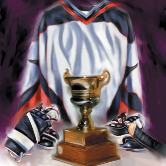 """Hockey Uniform And Trophy"" stock image"