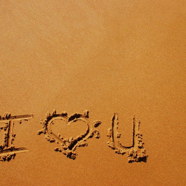 """""""I Love You Written In The Sand"""" stock image"""