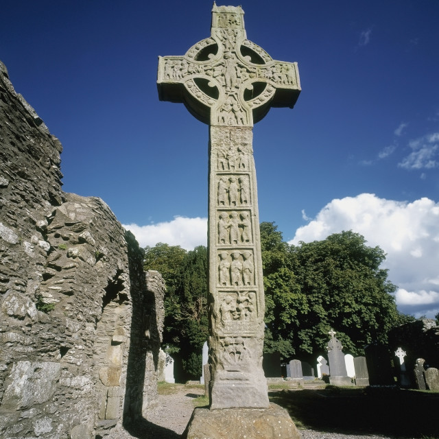 """""""High Cross At Monasterboice In County Louth, Ireland"""" stock image"""