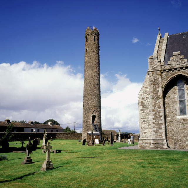 """""""Round Tower And St Brigid's Cathedral In Kildare Town, County Kildare, Ireland"""" stock image"""