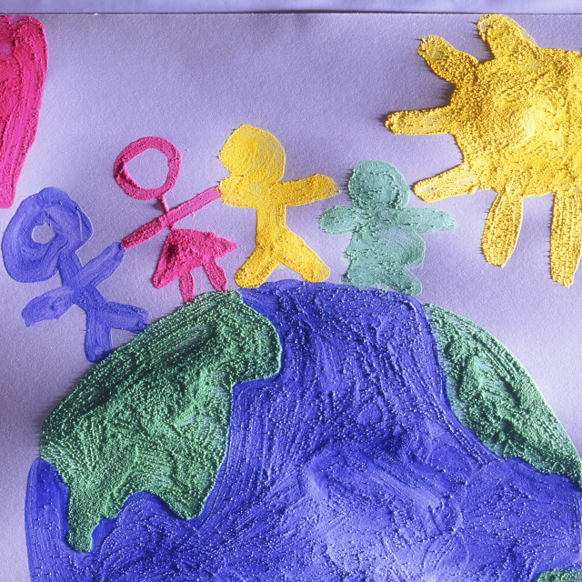 """Childrens Painting Of People On The World"" stock image"