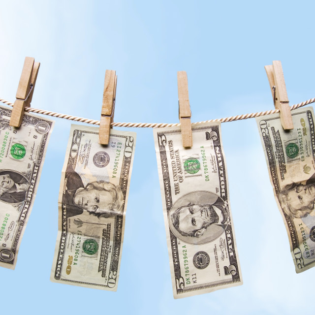 """""""American Bills Hanging On A Clothes Line"""" stock image"""