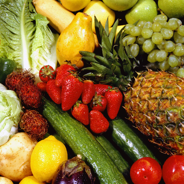 """""""Close Up Of Fruits And Vegetables"""" stock image"""