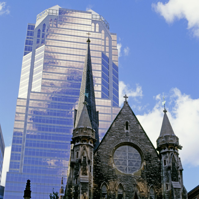 """Exterior Of A Church And A Skyscraper, Montreal, Quebec, Canada"" stock image"