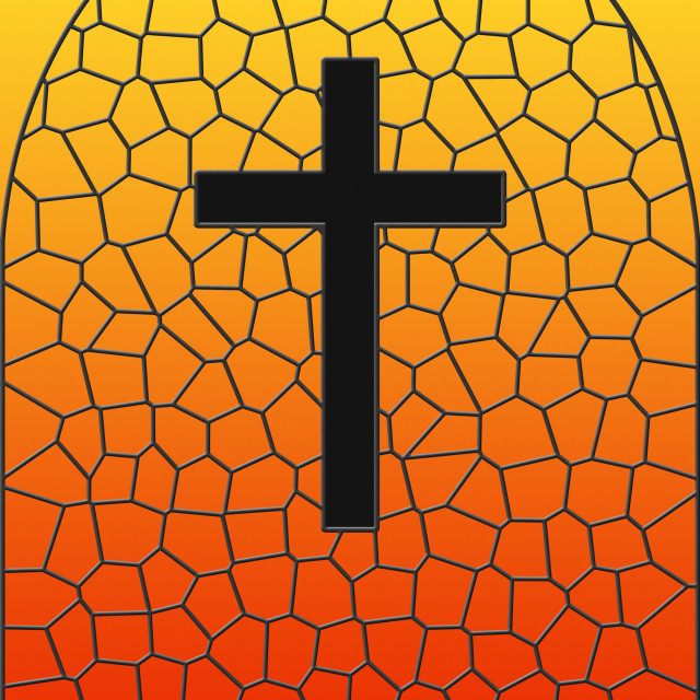 """Illustration Of Stained Glass And Cross"" stock image"