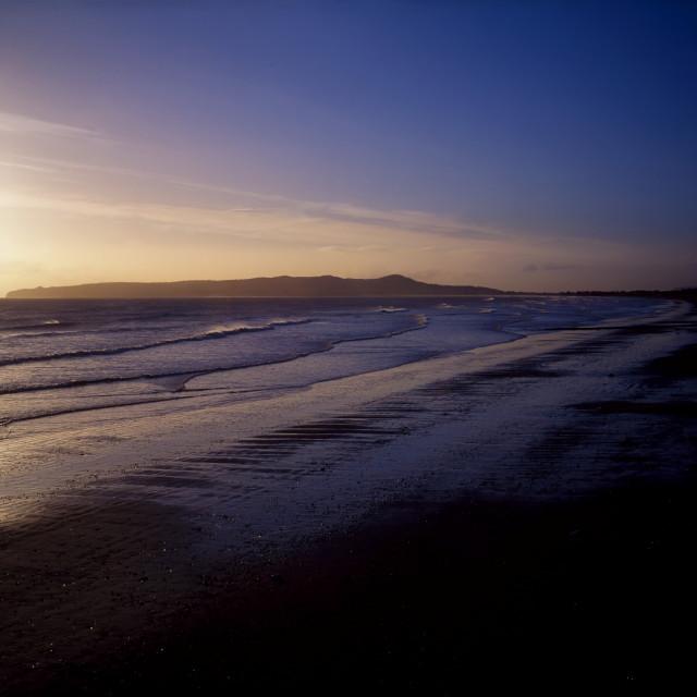 """Malahide Beach And Howth Head At Sunrise, Co Dublin, Ireland"" stock image"