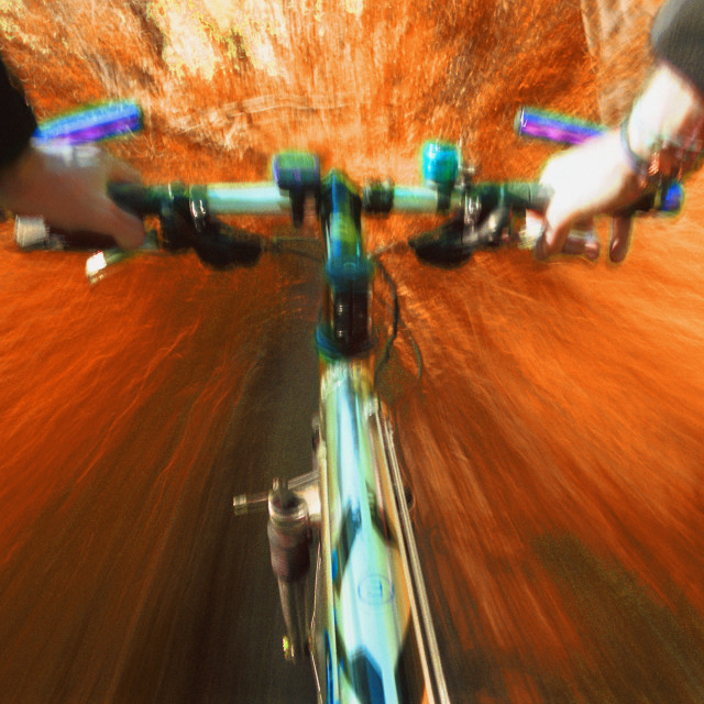 """""""Cyclist's View Of Trail Bike"""" stock image"""
