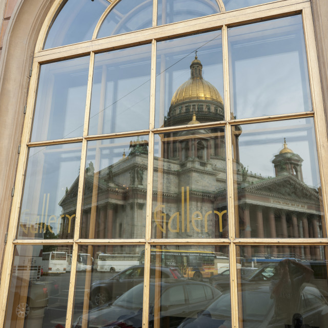 """A Window Reflecting Saint Isaac's Cathedral And Parked Cars; St. Petersburg,..."" stock image"