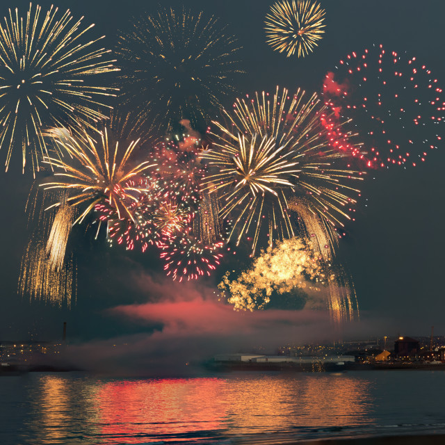 """Colourful Fireworks Display; Sunderland, Tyne And Wear, England"" stock image"