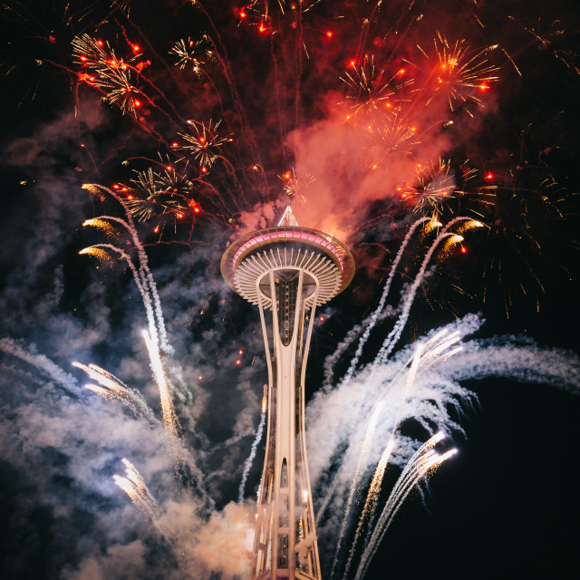 """Space Needle Fireworks"" stock image"