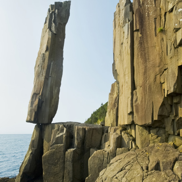 """Balancing Rock, Basalt Rock Cliffs, Bay Of Fundy; Long Island, Nova Scotia,..."" stock image"