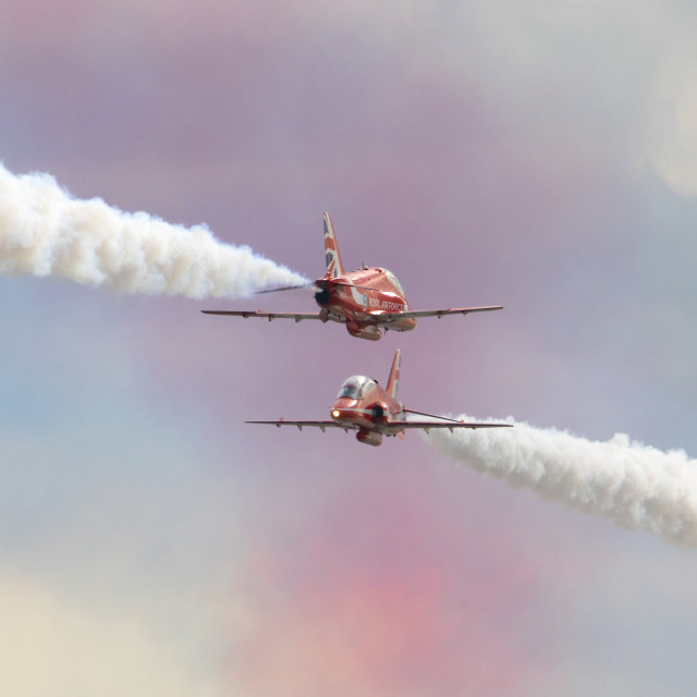 """""""RAF Red Arrows colourful crossover"""" stock image"""