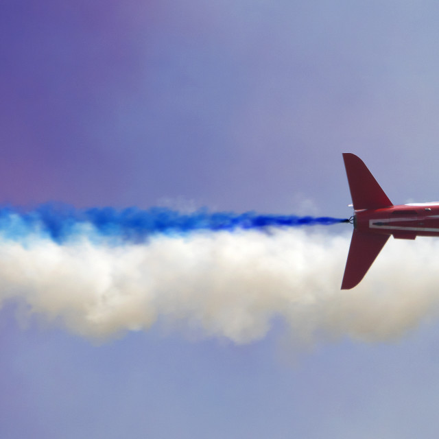 """RAF Red Arrows blue trail"" stock image"