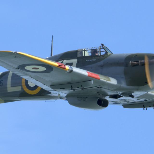 """Hawker Hurricane in blue sky"" stock image"