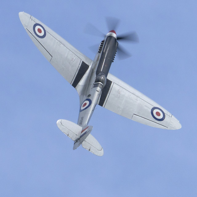 """""""Spitfire in a blue sky"""" stock image"""