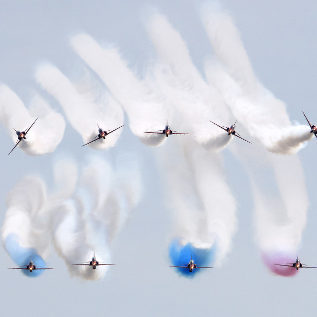 """RAF Red Arrows line up"" stock image"