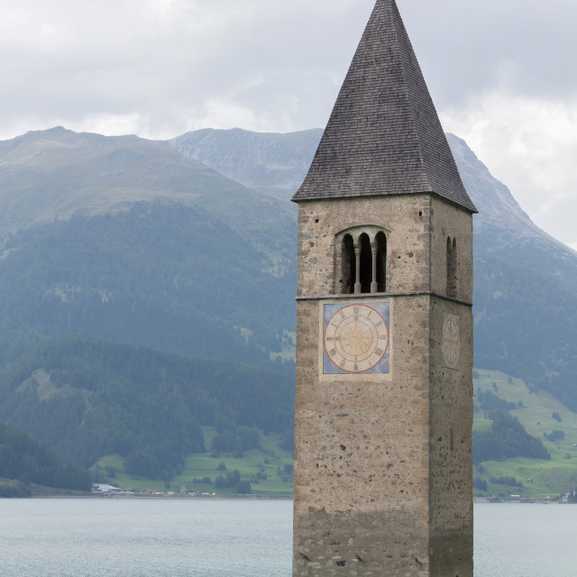 """Submerged tower of reschensee church deep in Resias Lake in Trentino-Alto valley"" stock image"
