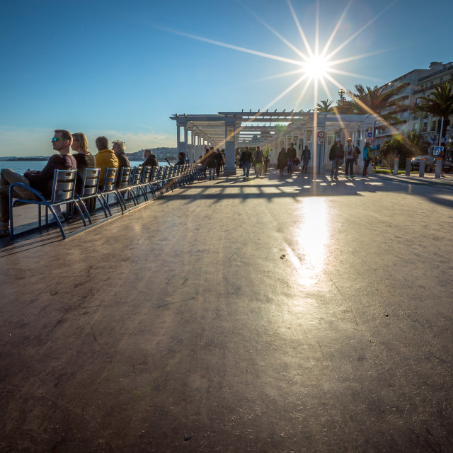 """Sunny day on the Promenade Des Anglaise"" stock image"