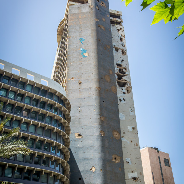 """Bombed ouit building in Beirut"" stock image"