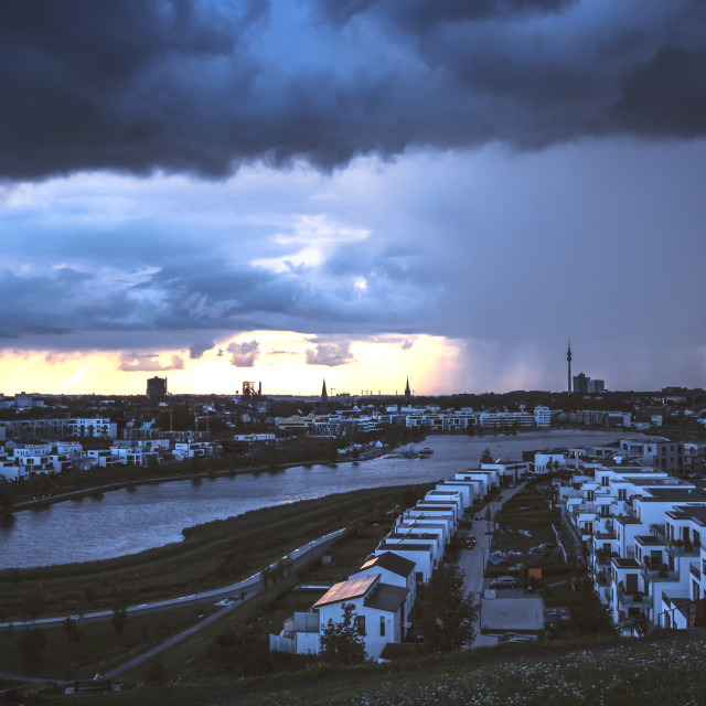 """""""Storm is coming at the Phoenixsee Dortmund"""" stock image"""