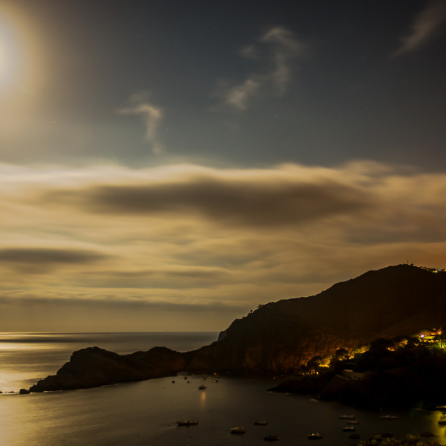 """Moonlight over bay"" stock image"