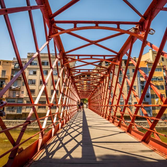 """""""Pont De Les Pescateries Velles, Girona . Spain"""" stock image"""