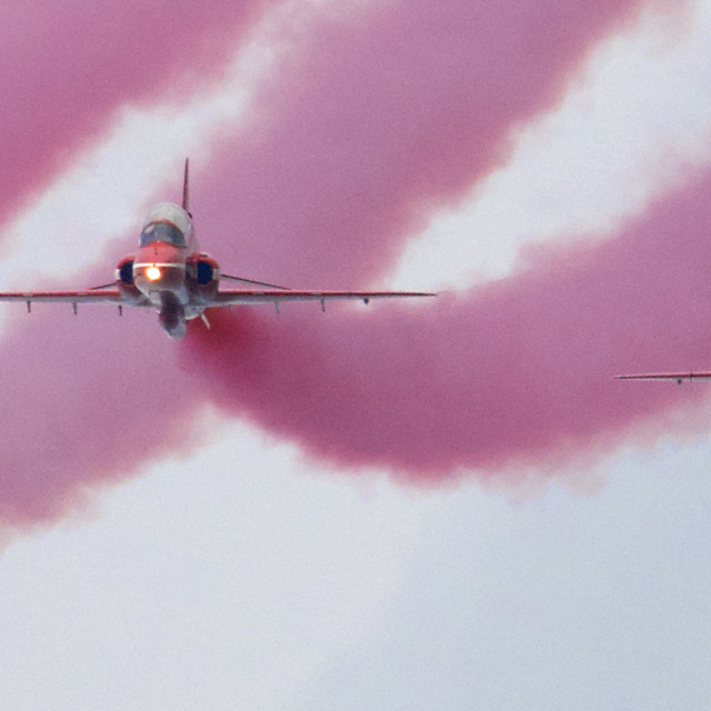 """""""RAF Red Arrows 'Red Smoke'"""" stock image"""