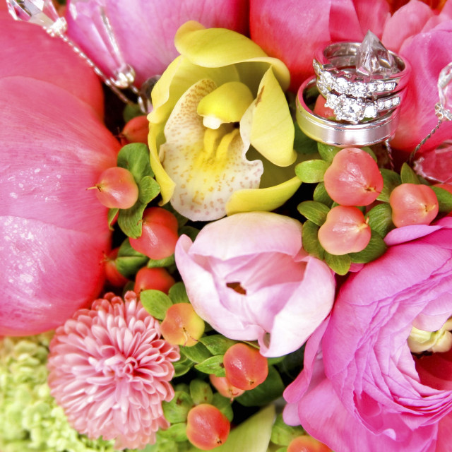 """Wedding Rings In Bouquet"" stock image"