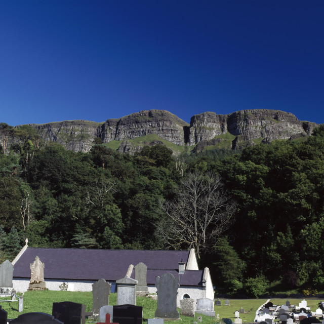 """Binevenagh Cliffs In The Distance; Limavady, County Derry, Ireland"" stock image"