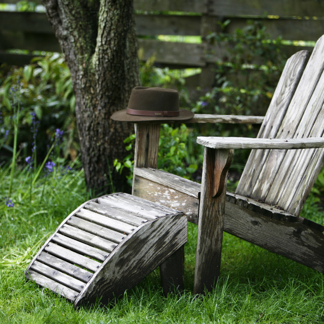 """""""A Hat On An Adirondack Chair"""" stock image"""