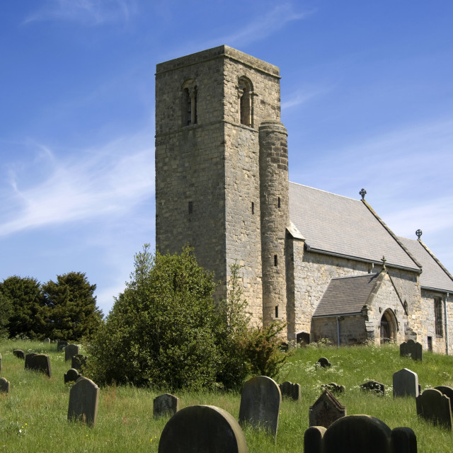 """A Country Church And Graveyard"" stock image"