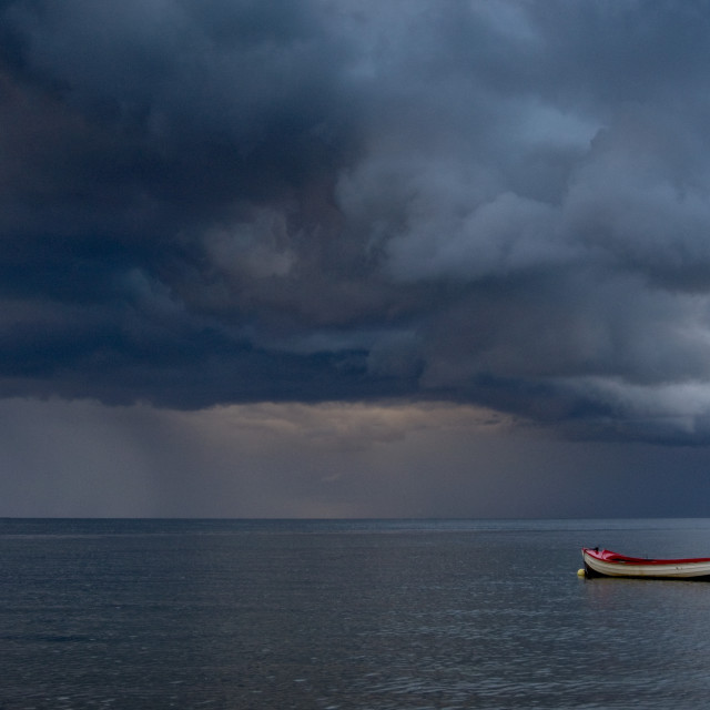 """""""Empty Boat Floating In The North Sea, Sunderland, Tyne And Wear, England, Europe"""" stock image"""