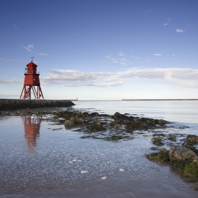 """Herd Groyne Lighthouse, South Shields, Tyne And Wear, England"" stock image"