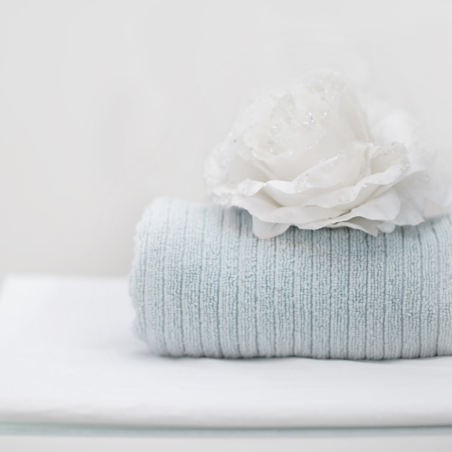 """White and Grey Towels in a Beauty Salon"" stock image"