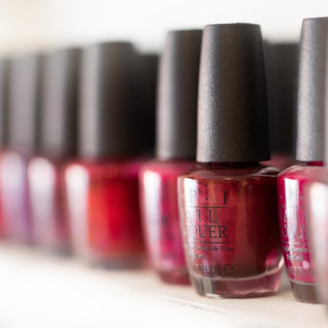 """Many Pots of Nail Varnish in a Beauty Salon"" stock image"