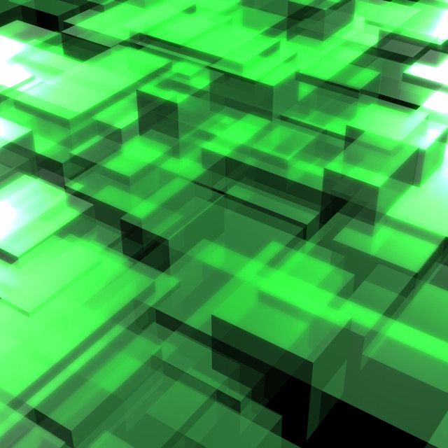 """Green Squares, Abstract"" stock image"