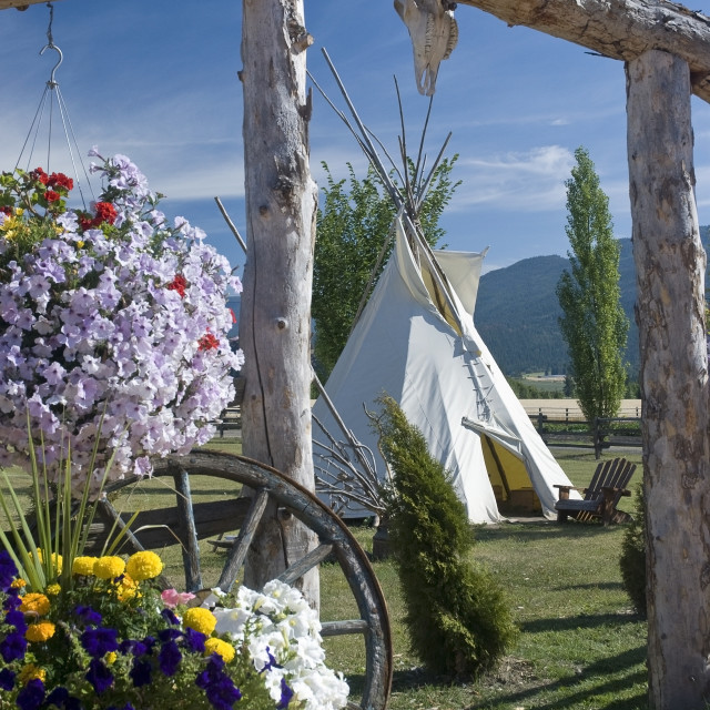 """Indian Tepee, Armstrong, British Columbia, Canada"" stock image"