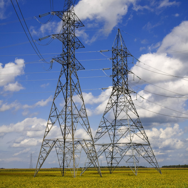 """""""Hydro Electric Towers Over A Soya Bean Field"""" stock image"""