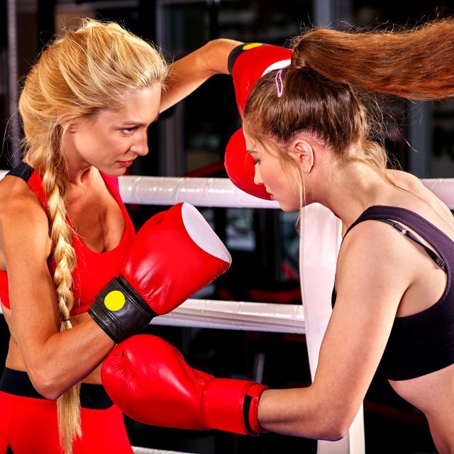 """Portrait of sport girl boxing."" stock image"