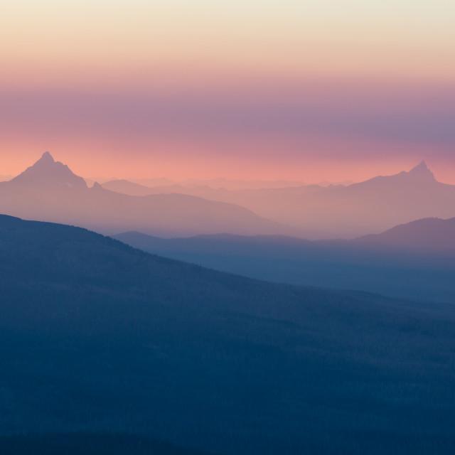 """Smoky Mountain Range at Sunset"" stock image"