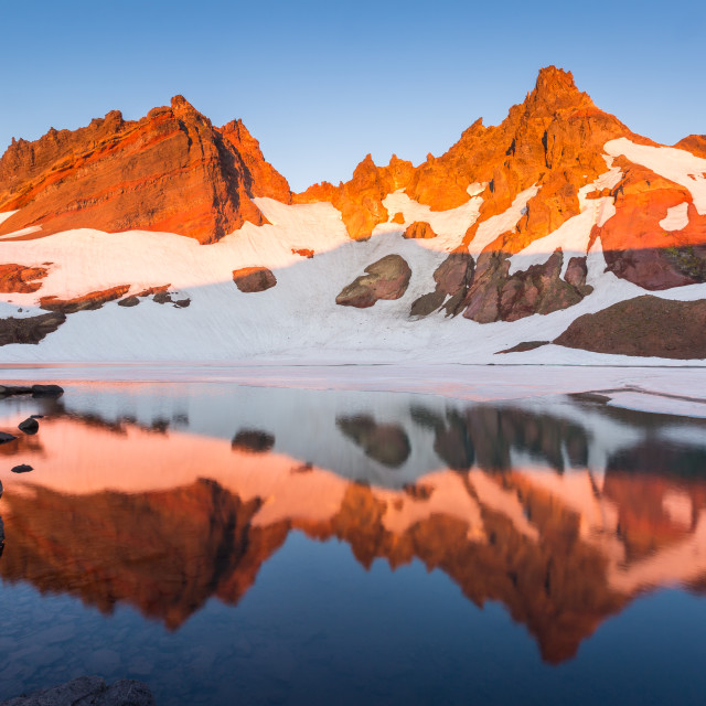 """""""Glacier Lake Mountain Sunrise"""" stock image"""