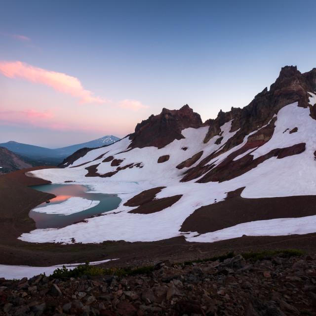 """Glacier Lake Mountain Sunset"" stock image"