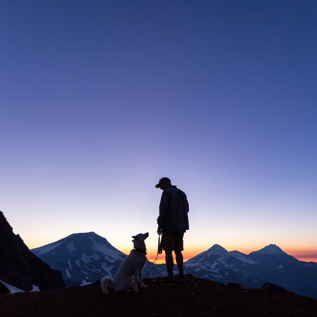 """""""Dog and Owner Mountain Sunset"""" stock image"""