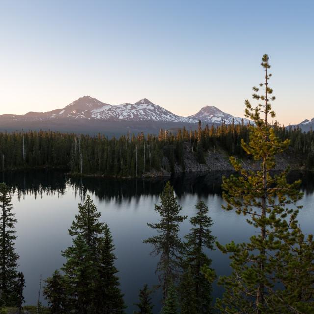 """Mountain Lake at Sunrise"" stock image"