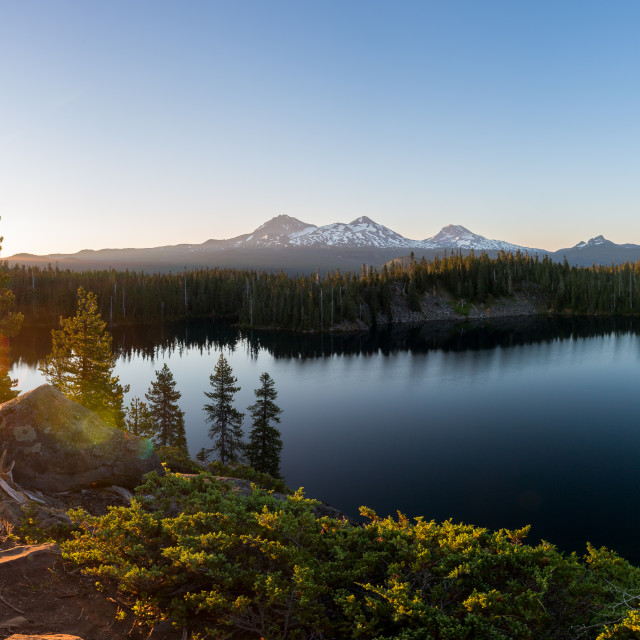 """Mountain Lake Sunrise Panorama"" stock image"